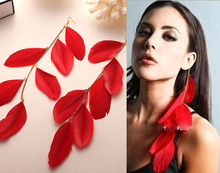 2016 New Free Shipping Fashion Hot Colorful sexy tassels Bohemia feather earrings female Girl dangle drop earring charm(China (Mainland))