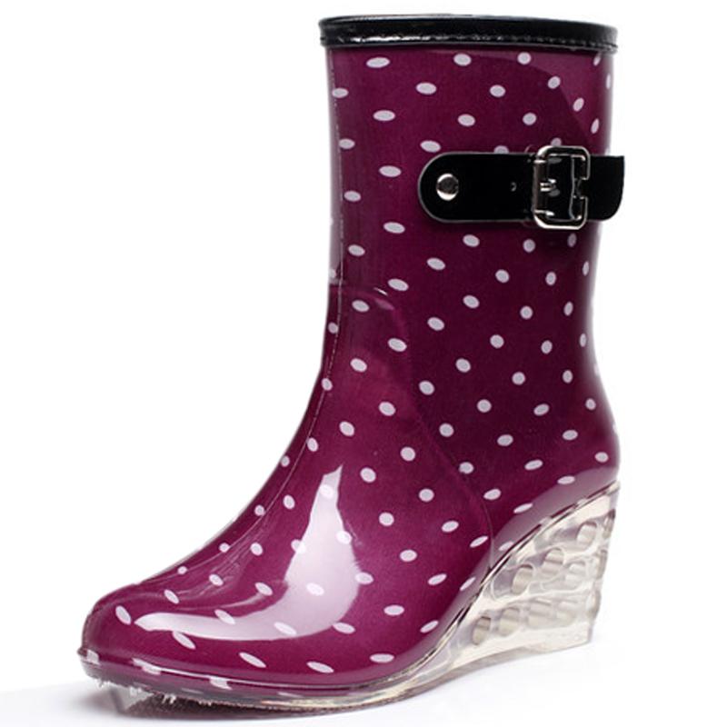 Botas Mujer 8 Styles Wedges Rain Boots Women 2016 Dot Rainboots Round Toe Buckle Mid Calf Platform Shoes Women Boots WW787(China (Mainland))