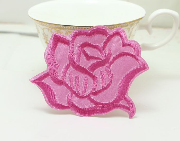 Hot rose motif 7 * 8cm iron on patch DIY craft accessories. Embroidery applique 20pcs(China (Mainland))