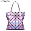 Famous Brands Women Laser Bright BaoBao Tote Lady Geometry Diamond Lattice Sequins Fold Over Pearl Bao