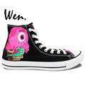 Wen Hand Painted Casual Shoes Custom Design Cartoon Monster Ice Cream Men Women s High Top
