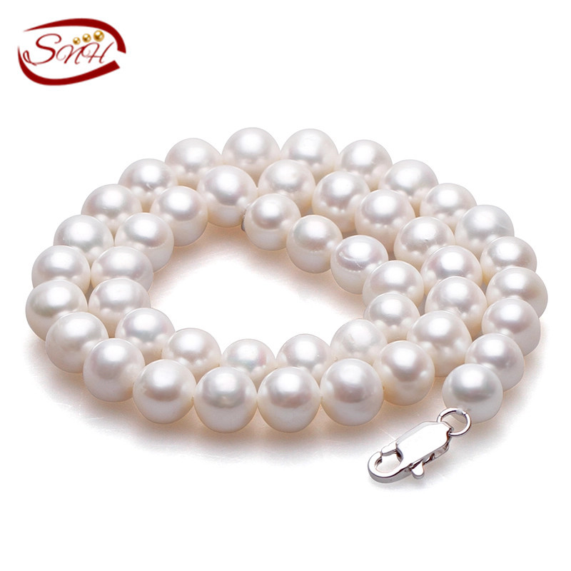 Real Freshwater Natural Pearl Necklace Women fine necklace Jewelry Pearl 925 sterling silver necklace Cultured Genuine Pearl(China (Mainland))