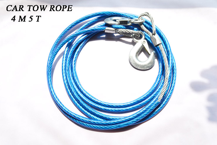 Super quality 4M 5 Tons Car Tow Cable Towing Strap Rope With Hooks Emergency Heavy Duty Steel wire rope tow(China (Mainland))
