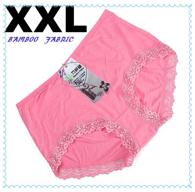 Free Shipping!Woman High Waist Underwear Bamboo Fabric lady lace pants XXL 5pcs/lot