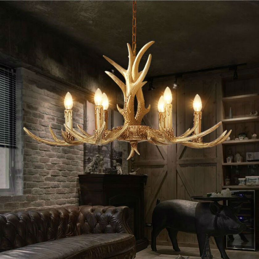 Europe Country 6 Head Candle Antler Pendant Lights American Retro Resin Deer Horn Lamps Home Decoration Lighting E14 110-240V(China (Mainland))