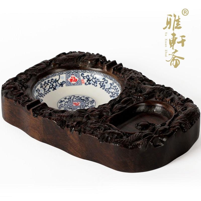 Madeira de mogno escultura artesanato madeira de ébano Inlay de porcelana cinzeiro personalidade criativa presente Yanju(China (Mainland))