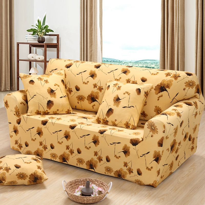 Yellow floral sofa cover spandex with elastic ginkgo/Dandelion fundas de sofas universal single/double/3 seater sofa covers(China (Mainland))