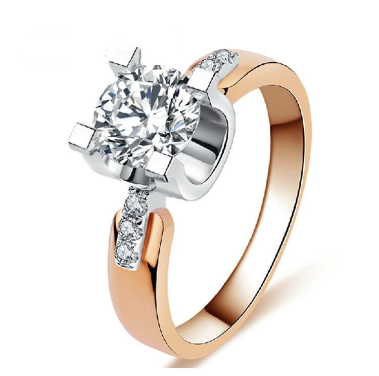 18k rose gold & white gold plated High quality rings for women zirconia diamond wedding rings bijoux women's jewelry FTKR015(China (Mainland))