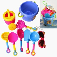 2015 New Arrival Baby Kids Sandy beach Toy Set 9PCs Dredging tool Beach Bucket Sunglass Baby playing with sand water toys (China (Mainland))