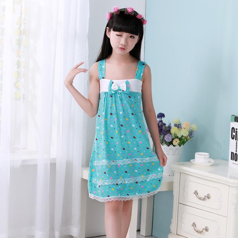 2016 new summer children's nightgowns kids sleeveless pajamas girl floral nightdress 2 pattern blue colour 3-12 years(China (Mainland))
