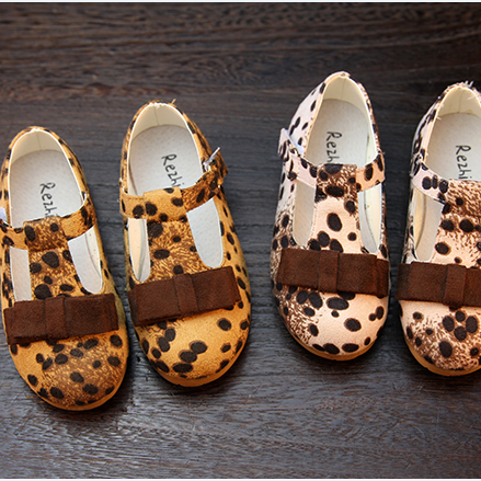 Wholesale and Retail! 2015 New Fashion Spring Leopard Print Leather Child Bow Single Shoes Sweet Princess Baby Shoes on sale(China (Mainland))
