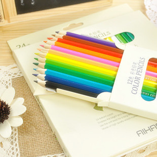 Fresh (12 pcs/set) Multicolour Wooden Standard Pencil Set,Promotional Gift Stationery Retail(China (Mainland))