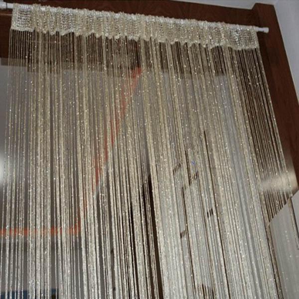 13 Colors Vogue Curtain Silver Silk Tassel String 200cm x 100 cm Door Window Living Room Divider Curtain Valance(China (Mainland))