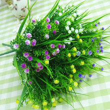 Small Artificial Green Plants Grass Fake Floral Plastic Silk Eucalyptus Flowers For Office Hotel Wedding Table Decor(China (Mainland))