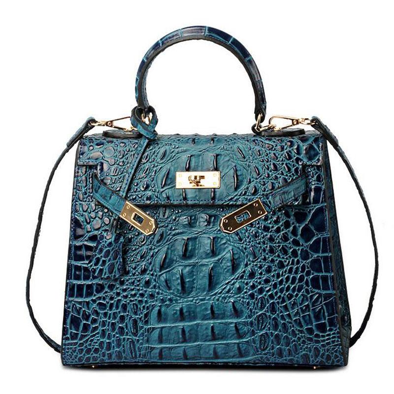 25CM 28CM Wholesale Crocodile Pattern Platinum Lock High-end Genuine Leather Women Handbag Lady Blue Messenger Bag Shoulder Bag(China (Mainland))