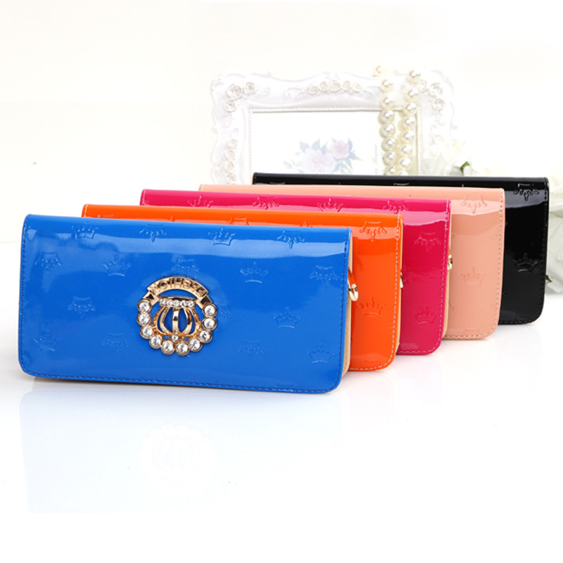 2015 Hot Sale Women Lovely Wallets PU Coin Purse Crown Wallet Ladies Wallets Long Female Clutch Money Bag Mobile Phone Bag(China (Mainland))