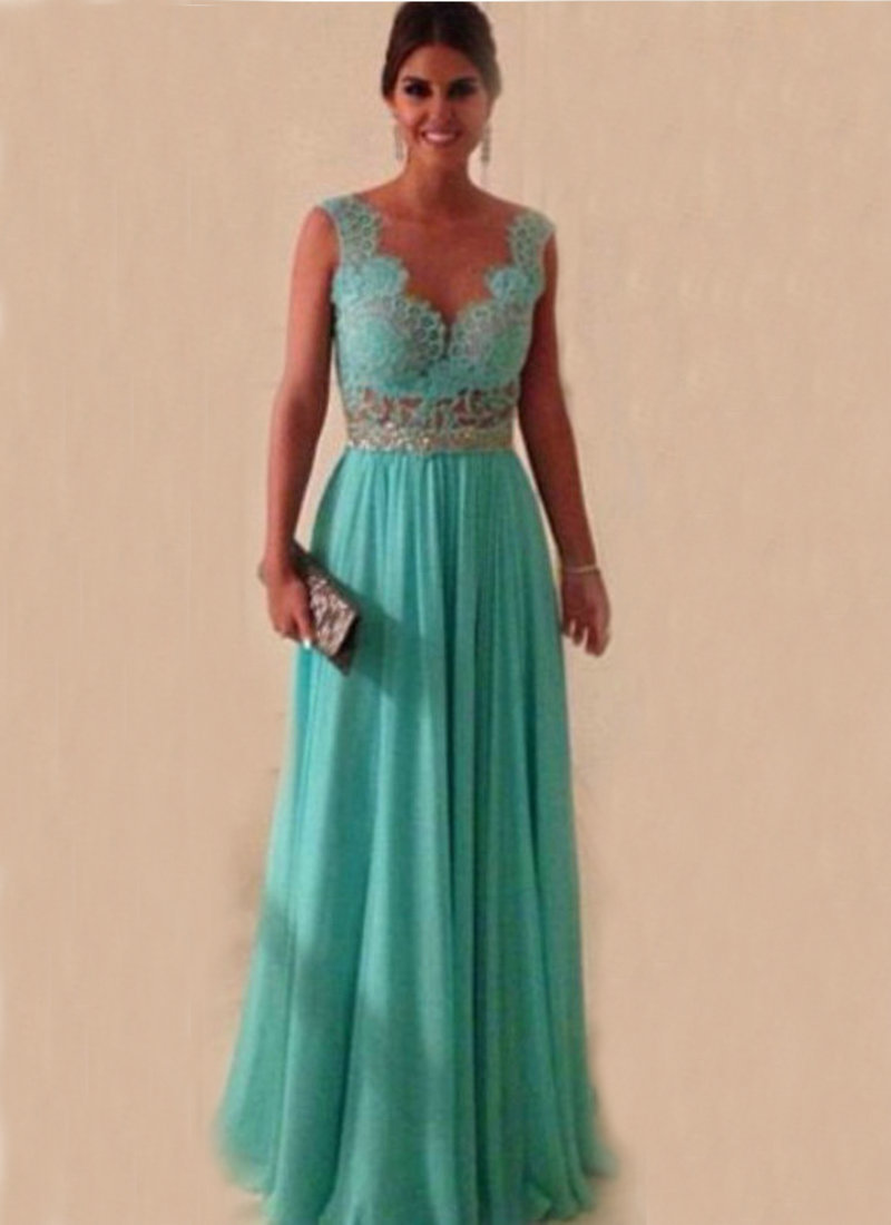 Turquoise Chiffon Back Nude Tulle Cheap Evening Dresses vestido de festa Chiffon Lace Prom Dresses Evening Formal Gowns(China (Mainland))