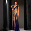 Beaded Long Abendkleider Gold Sequined Evening Dress Gown Woman Party Crystal Evening Dresses Robe De Soiree