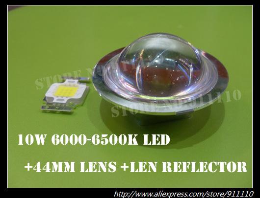Dia 44mm Optical Glass Lens +Lens Reflector+10W Led Cool White 6000-6500K(China (Mainland))