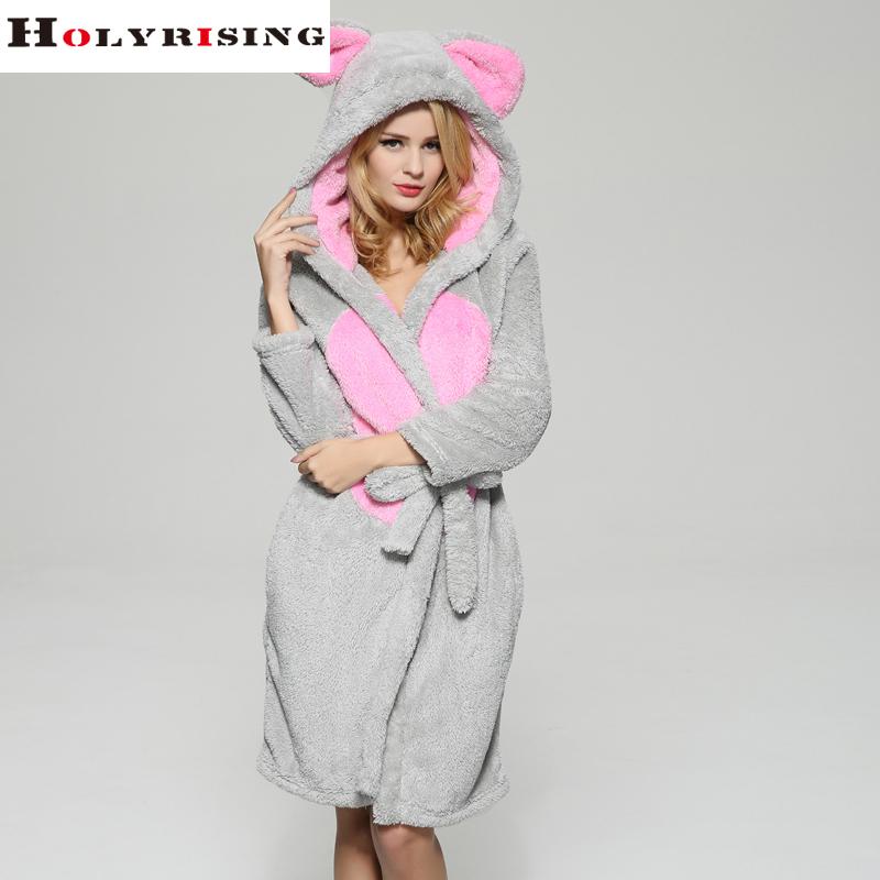cosplay women Bathrobe robe cartoon pajamas nightgown hooded robe bathrobe leisurewear flannel winter thick