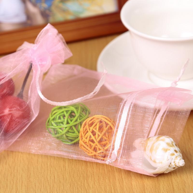 150 Pcs Drawstring Bag Solid Pink Organza Bags 9x12cm Wedding Packaging Christmas Present Gift Bags Pouches(China (Mainland))