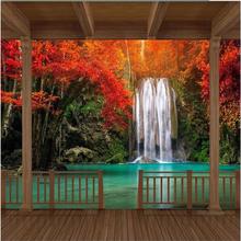 3d large wall mural wallpaper HD Wooden frame Red Maple Falls extending space backdrop custom silk photo wallpaper