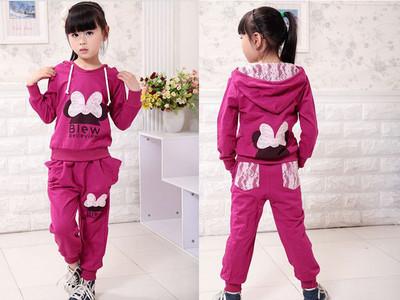 free shipping girl sport wear Baby Clothing Set girls sport Fashion 2pcs shirt and pant, Baby Garment Butterfly Sets(China (Mainland))