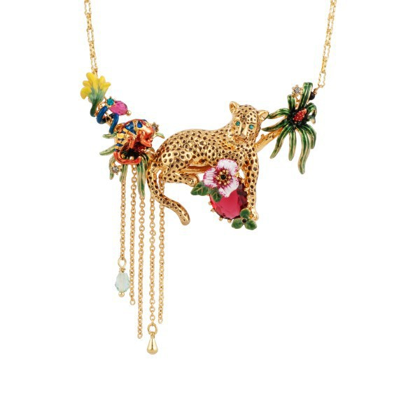 Timeless Wonder Chic GOLDEN PANTHER AND TROPICAL LANDSCAPE NECKLACE Brand Designer sassy party wedding gown date fancy pop 4355(China (Mainland))