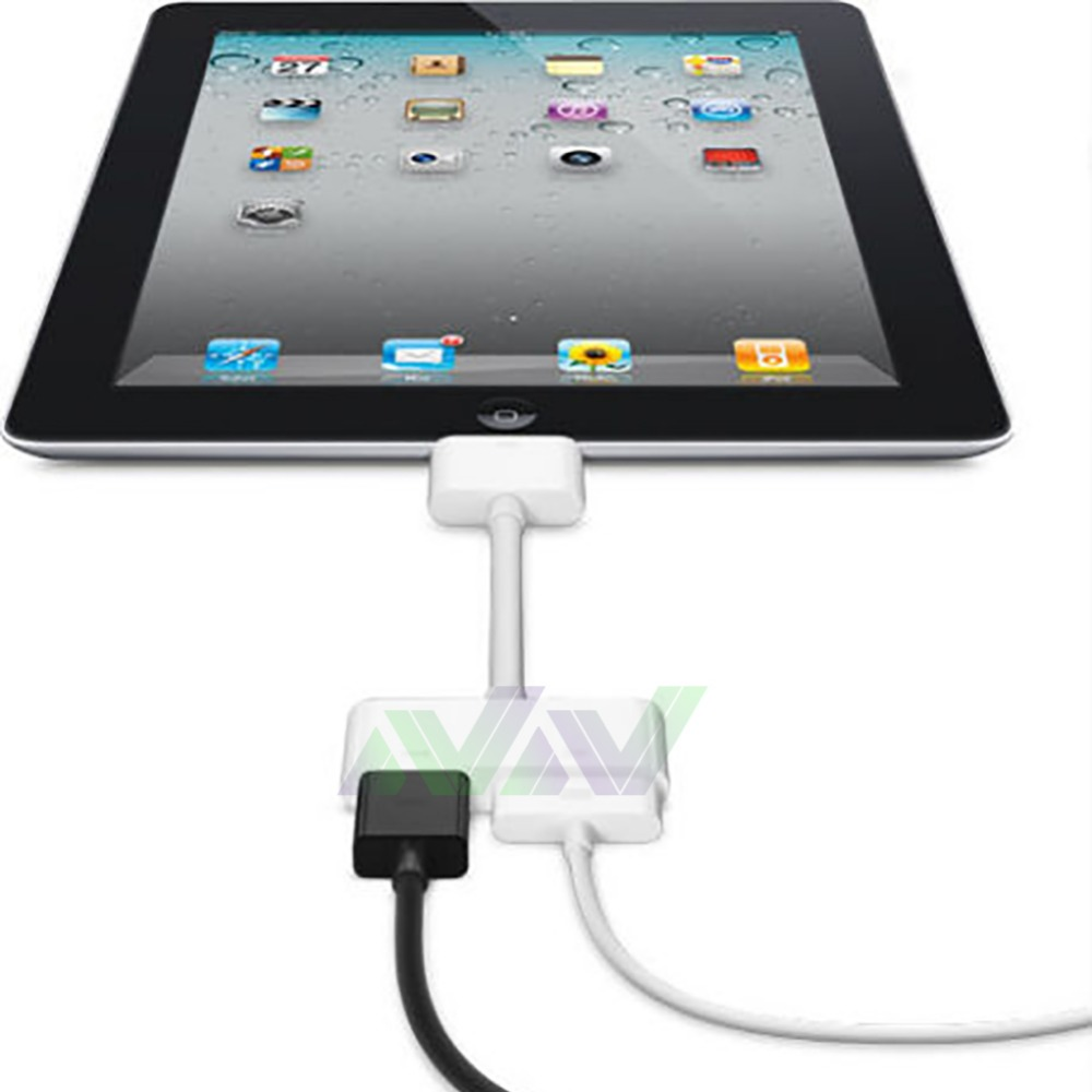 Hot selling 30-pin Dock Connector to VGA Adapter for Apple for iPad for iPhone for iPod retail sale Free shipping(China (Mainland))