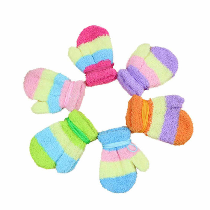 Novel designs Fashion Striped Gloves Mittens Cord For Children Baby Gloves(China (Mainland))
