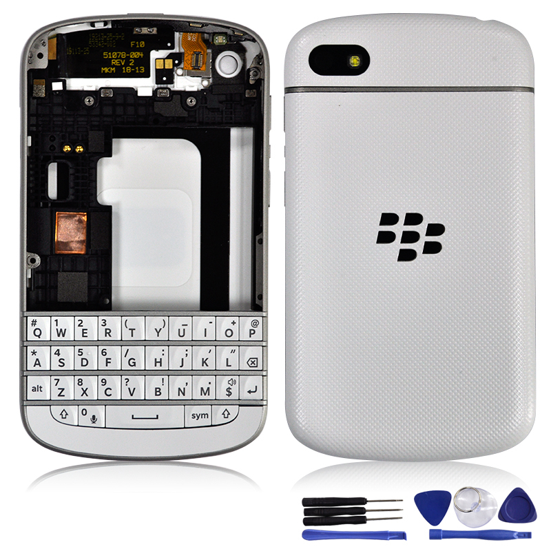 White Color New original full housing cover with keypad and frame for blackberry Q10 free shipping(China (Mainland))