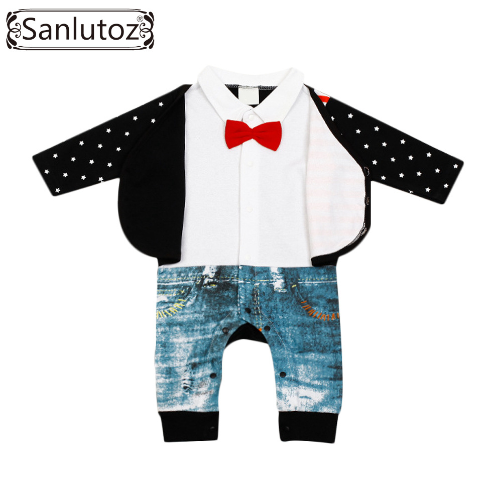 Baby Rompers Winter Baby Boy Clothing Newborn Clothes Brand Gentleman Suits Infant Jumpsuits Cotton Coveralls Overalls(China (Mainland))