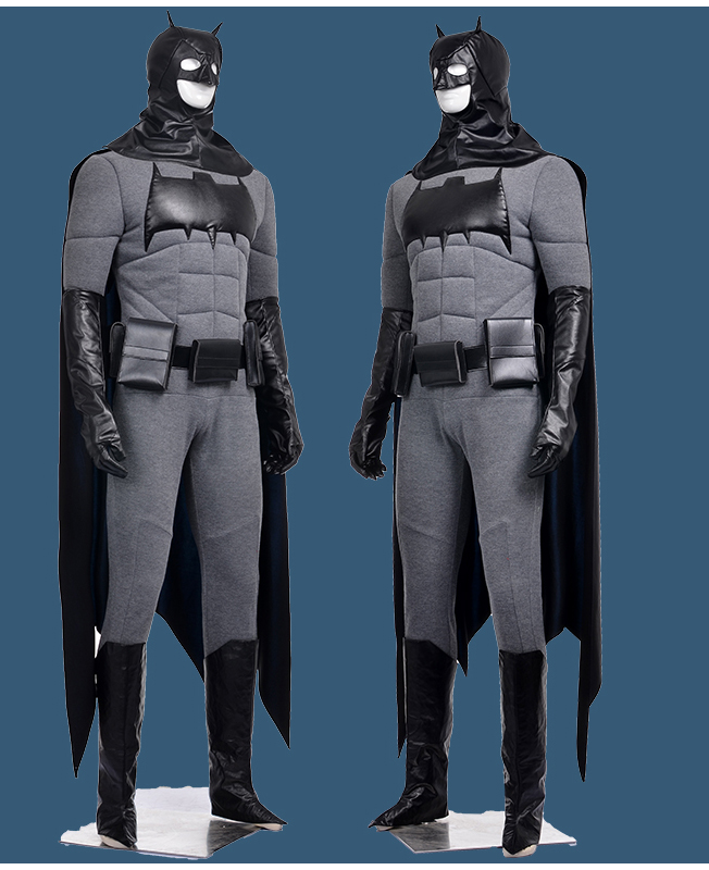 Movie Coser High Quality Custom Made Hero Batman Cosplay Costume Set With Face Mask and Cape(China (Mainland))