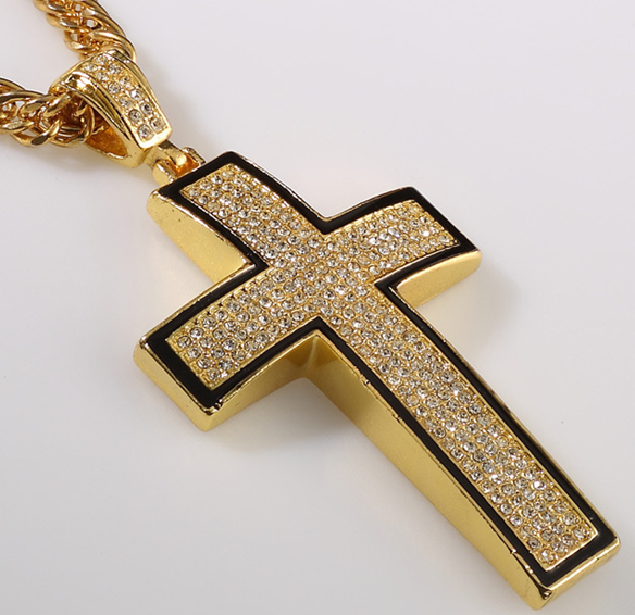2014 Hip Hop Gold Cross Pendant With Crystal For Men Necklace(China (Mainland))