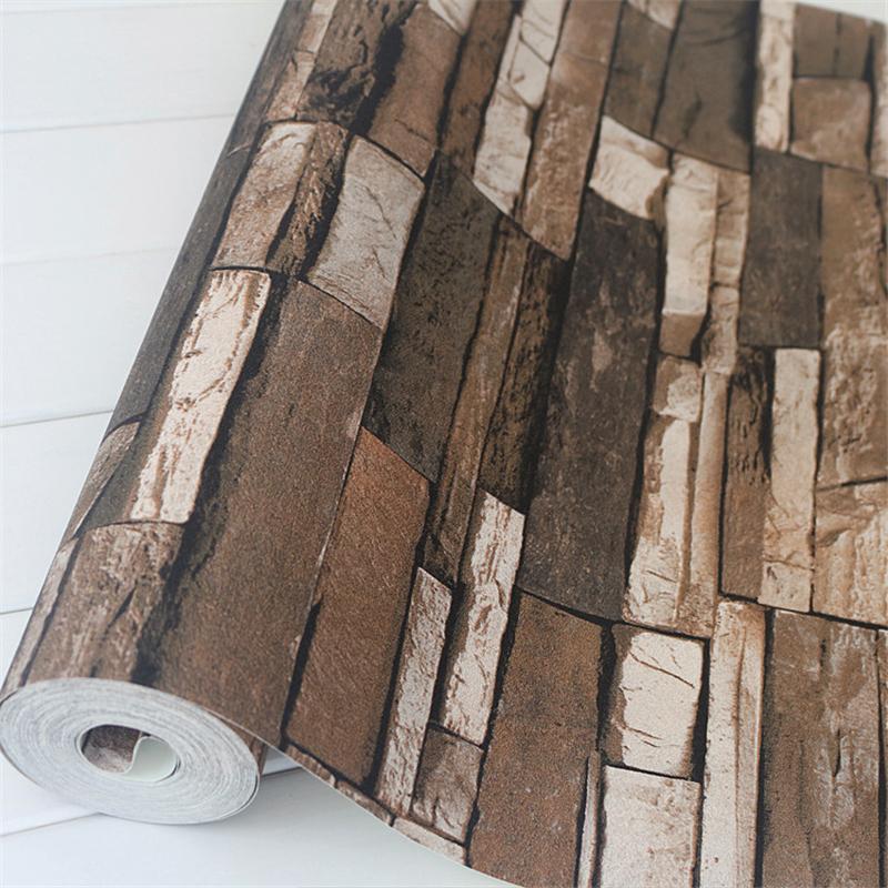 Pvc wood stone brick wallpaper 3d vintage vinyl waterproof for 3d waterproof wallpaper