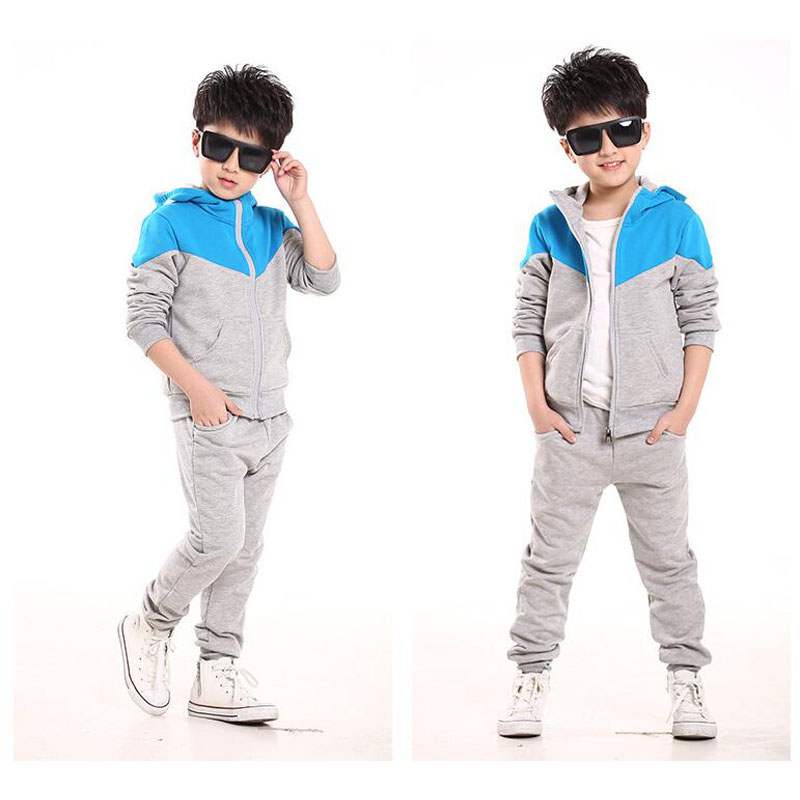 myang baby Cotton Kids Sports Tracksuit Autumn Long Sleeve Jogging Suits 2016 Boys Sport Suit Zipper Jacket Trousers Sweatshirt(China (Mainland))