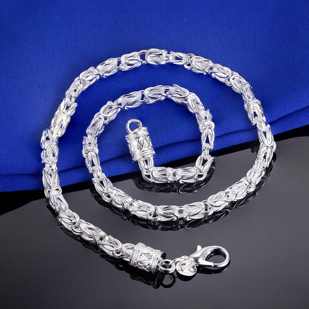 Top Quality 925 Silver 45CM 9 MM Chain Necklaces Men Jewelry Fashion Single Nacklace Wedding Jewellery(China (Mainland))