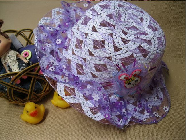 2012 New style Fashionable Baby hat with Cartoon Infant/kids cap/ baby straw hats prevent sunburn Lovely mesh hat(China (Mainland))