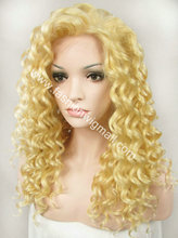 20″ #86 Yellow Blonde Curly Synthetic Hair Front Lace Wig High Quality Heavy Density Fashion Lady Lace Wig W03