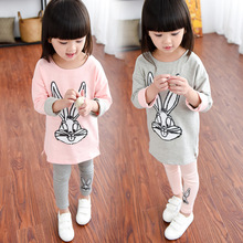 2016 New Arrival Kids Spring Autumn Sets Character Rabbit Girl Clothing Set Long Sleeve Blouses and Full Pants Leggings