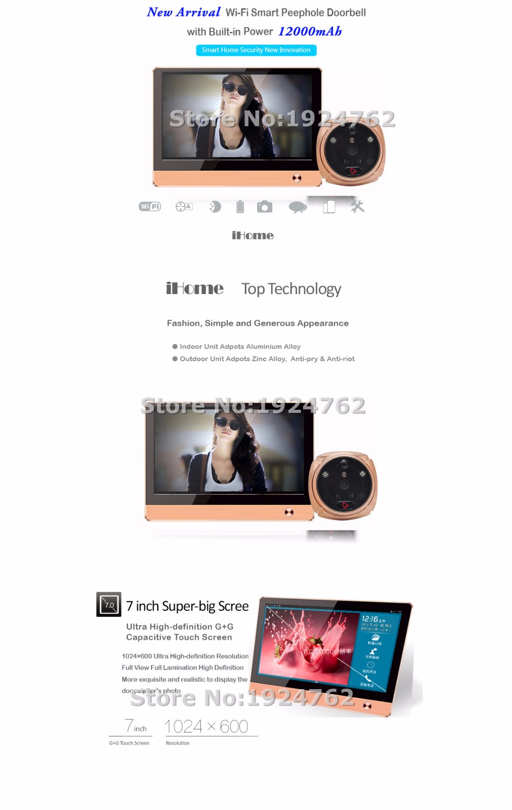 iHome4 Infared Detect Monitor Home Camera Security System Smartphone app Remote Control Peephole Doorbell System