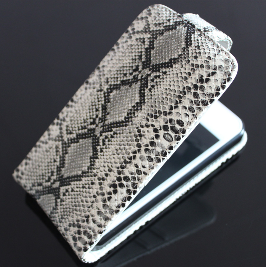 Cool Python Snake Stripes Design Leather Flip Pouch Bag Cover Skin Case For Apple iPhone 5 5G 5S Hotsale + Screen Protector(China (Mainland))