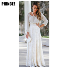Buy Leisure cultivate one's morality show tall waist 2017 hollow-out lace long skirts for $15.47 in AliExpress store