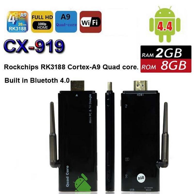 Quad Core Mini PC CX-919 RK3188 Android 4.4 TV Box WiFi XBMC HDD Media Player 2G 8G CX919 Bluetooth 4.0 HDMI DLNA Dongle Stick(China (Mainland))