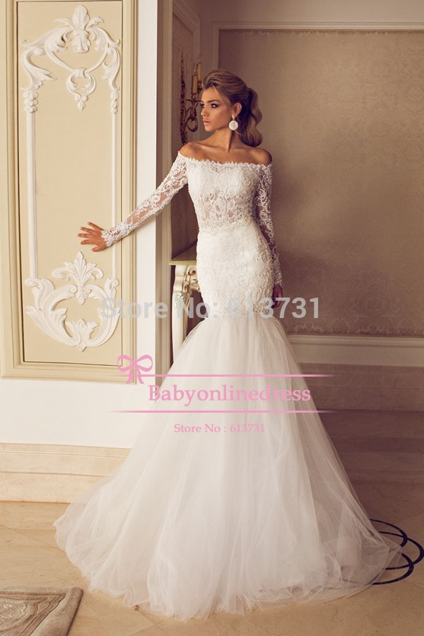2015 sexy romantic mermaid bridal gown see through lace for Lace off the shoulder wedding dresses