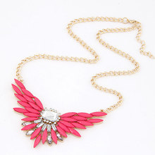 Fashion Collares Necklaces Pendants Imitated Gemstone Jewelry Wing Crystal Gold Choker Collier Femme for Women 2015
