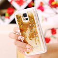 Flowing Quicksand Case for Samsung S5 Glitter Shiny Star Transparent Clear Hard Back Cover Funny Phone