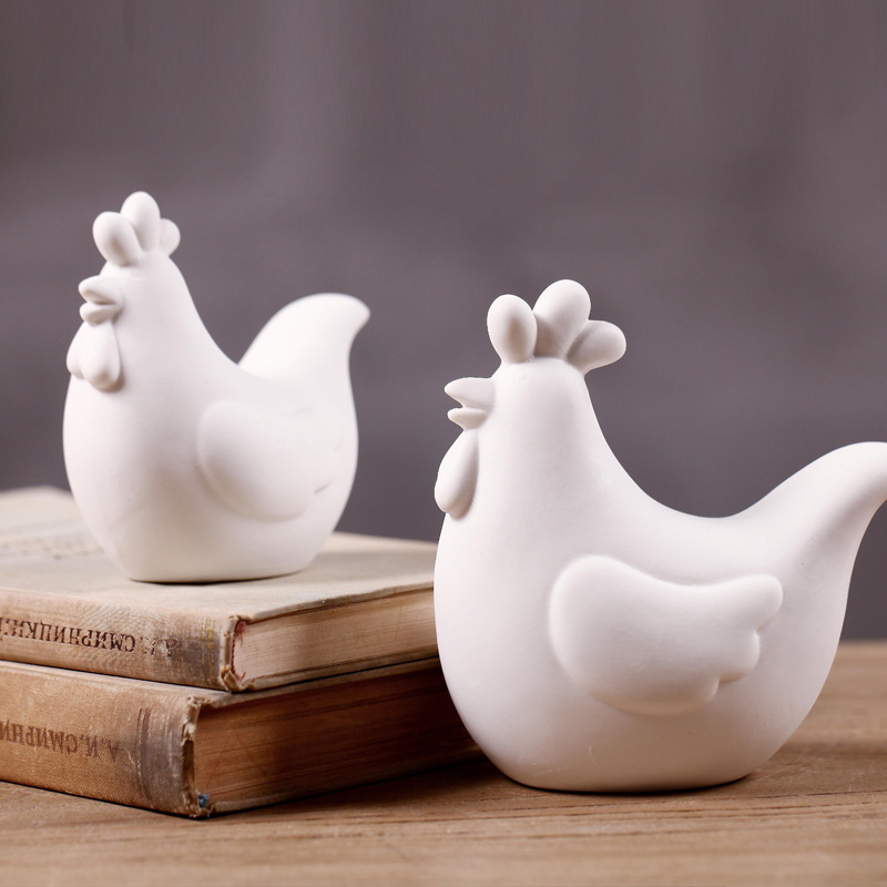 Zakka Creative White Concise Ceramic Chicken Home Table Balcony Wedding Crafts Decoration Best Idea Gift For Kid(China (Mainland))