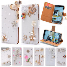 Note2 Luxury Wallet Stand Flip PU Leather Diamond Bowknot Cosmetic Mirror Case For Samsung Galaxy Note 2 II N7100 Handmade Cover(China (Mainland))