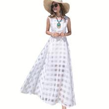 2016 New Women Summer Dress Elegant Ladies Vintage Black Organza Sleeveless Long Beach Maxi Dress Sundress Vestidos Femininos(China (Mainland))